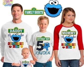15% Off cookie monster birthday shirt /sesame street shirt /family matching shirts/sesame street birthday party shirt /sesame street/ family