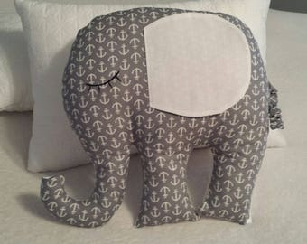 Elephant pillow Nursery decor Baby room decor Stuffed animal Elephant Gray pillow Anchor theme decor Gray and white theme decor Pillows