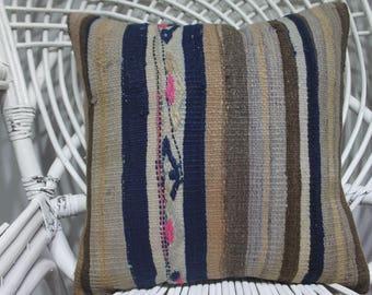 coussin kilim 16x16 pale striped kilim pillow 16x16 moroccan floor pillow 16x16 throw pillows 16x16 bohemian throw pillow16x16 cushions 3770