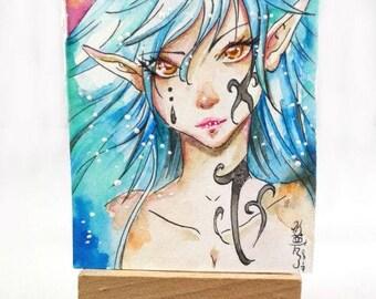 Original watercolor ACEO cocoa card Dark Elf fantasy portrait autographed