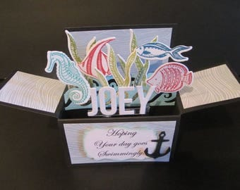Handmade 3D Birthday card  card in a box -Under the sea