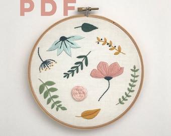 Floral Stitch Sampler,  PDF Embroidery Pattern, Digital Download, Floral Embroidery Pattern, Floral Needlework