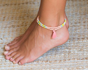 Girls Ankle Bracelet // Ankle Bracelet For Women // Beach Anklet // Pink Anklet For Girls // Ankle Bracelet For Girls // Tassel Anklet