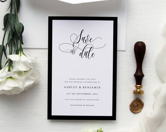 Ashley Frame Save the Date Cards, Calligraphy Elegant and Classy Save the Date Cards, Printable Save the Date or Printed Save the Date