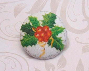 1 fabric button x 28mm hoe Christmas ref A31