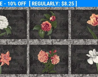SALE! Flower Show - Panel - Blank Quilting by Gail Fraser - Panel flowers