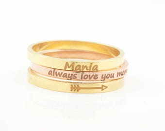 Personalized Ring, Mothers Ring, Stacking Custom Ring, Custom Engraved Ring, Name Ring, Message Ring, Gift for Mom, Inspirational Ring, 0468