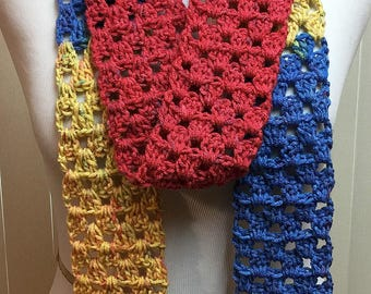 Skinny Blue Red Yellow Scarf, Long Narrow Scarf, Skinny Crochet Scarf, Crocheted Scarves, Gifts for Her, Fashion Scarf, Skinny Scarf
