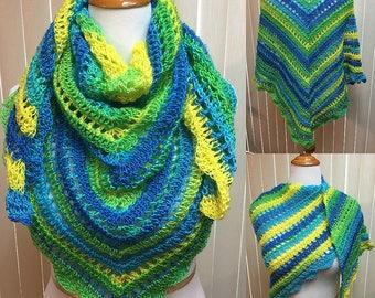 Blue Green Yellow Crochet Shawl Wrap Triangle Scarf, 100% Acrylic Lightweight Handmade Crochet, Ladies Women's Gifts for Her Fashion