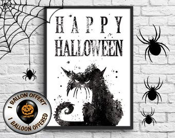 Decorative halloween, happy halloween, halloween balloon offered, phosphorescence choice, size A3, A4 size, small format, watercolor cat