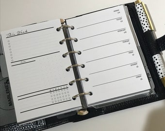 Week On 1 Page With Lists | Pocket Size Printed Planner Inserts | WO1P
