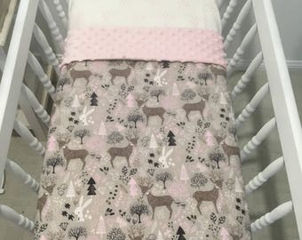 Pink and Woodland minky bassinet blanket and fitted sheet set