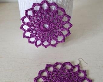 Slave bracelet, pair earrings with crochet cotton