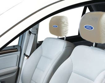 Ford Car/SUV White Headrest Covers