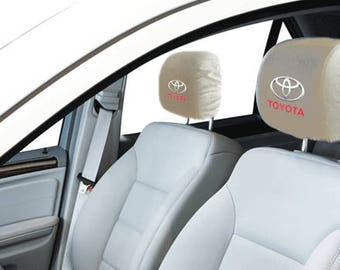Toyota Car/SUV White Headrest Covers