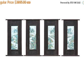 wholestoreSALE Carved Chinese Huali Relief Porcelain Scenery Wall Panel Set cs820e