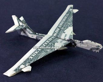 BOEING 747 Jet Fighter Money Origami - Dollar Bill Art - Military Gift for Army Navy Marines Air Force Soldier Airplane
