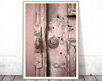 Fine Art Photography, Pastel Pink Print, Door Detail, Chic Wall Art, Rustic Home Decor, Digital Download, Printable Art, Abstract Photo Art