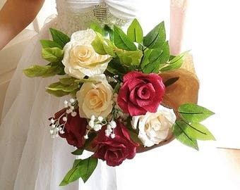 Gift flowers Roses Wedding Bouquet Crepe Paper Roses Other Colours AVAILABLE! crepe paper flowers