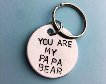 Papa bear, Father gift, Dad gift, Daddy gift, Fathers day gift,Gift for farther, gift for dad,,Dad gifts,Daddy keyring,Dad keyring, keychain