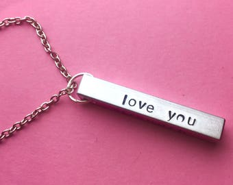 Boyfriend Valentines Gift, Love You So, Personalise It, Name Necklace For  Men,
