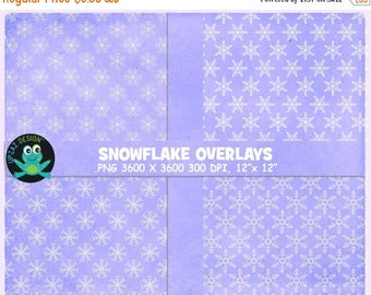 75% OFF SALE Snowflake Overlays, Snow Overlays, Overlay, Snowflake Digital Papers, Background, Instant Download - UZOL1858