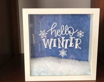 Hello Winter Shadow Box Art