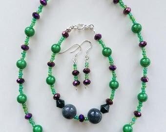 SALE Green Purple and Grey Necklace Bracelet and Earring Set, Green Necklace, Purple Bracelet, Grey Necklace, Purple Set, Grey Set, Green Se