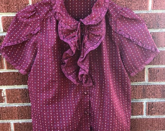 Vintage Maroon Ruffled Top