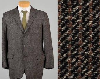 SALE XXL 1950s Jacket 50s Sportcoat  Sport Coat Jacket Charcoal Brown Stripe Fleck Sports Coat Man Blazer Three Button Wool Atomic Vintage