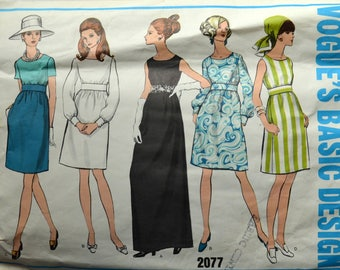 1960s Vogue Vintage Sewing Pattern 2077, Size 10; Misses' One-Piece Dress