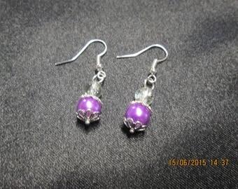 Satin glass bead earrings purple