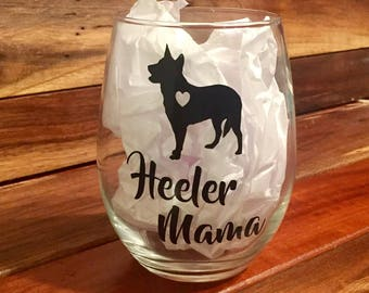 Blue Heeler Wine Glass | Stemless Wine Glass | Personalized Glass | Gift for Her | Catahoula | Australian Cattle Dog Wine Glass