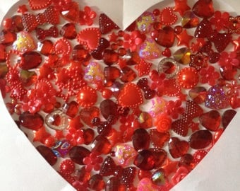 100 Red mixed embellishments hearts flowers pearls stars ect scrap booking card making frames