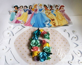 Frame Disney Princess birthday party decoration with number paper flower - Unique author's design - Floral wall decor, Baby Shower Decor