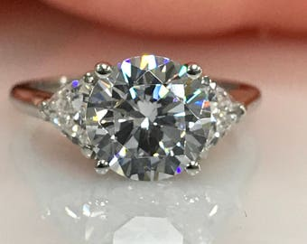 Moissanite Round Brilliant And Trillion Accent Engagement Wedding Anniversary Ring In 3.50ctw. 14K White Gold #5243