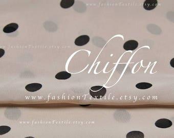 Polka Dot Beige Chiffon Fabric by the yard