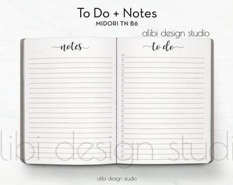 B6 TN, To Do List, Midori TN B6, Notes, Travelers Notebook, Midori Insert, Traveler's Notebook B6, TN Insert, Midori, Bullet Journal, B6