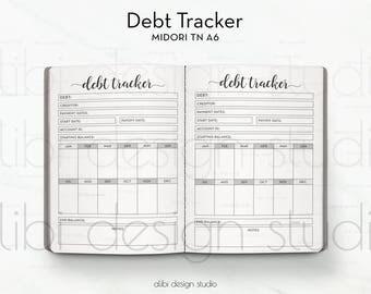 A6 TN, Debt Tracker, Travelers Notebook, Finance Planner, Debt Planner, Midori Inserts, Budget Planner, TN Inserts, Midori, TN Budget Insert