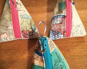 Triangular zipper bag mini safe bag contact lens bag change purse binkie bag keys medicine bag diabetic tote makeup bag