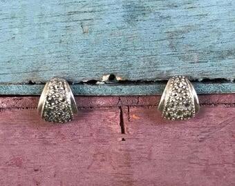 Elegant Sterling Silver Marcasite Art Deco Post Stud Earrings 2g