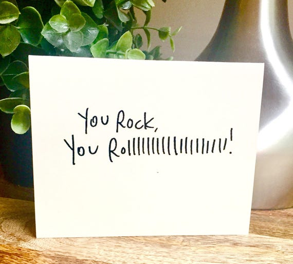 10 pack Thank you cards, You rock card, Handmade hello car, bulk Thank you card, handleterred thank you card, Just saying hello, rock n roll