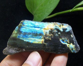 Polished strong iridescent Labradorite B3855