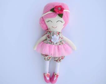 Girl Doll, 17 inches,handmade doll, pink hair,handmade,gift doll, side bun, dolls for girls, doll