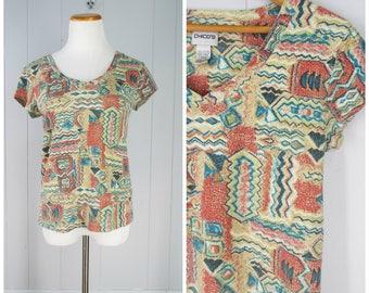 Vintage Womens Tribal Print Short Sleeve V Neck Cotton Tee Shirt | Size S/M