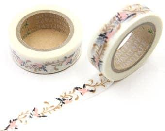 Wedding Retro Washi Tape, Floral Gold Peach Washi Tape, Decor Tape, Shop Stationery, Planner Diary Washi Tape, Cute Tape, Pretty Tape