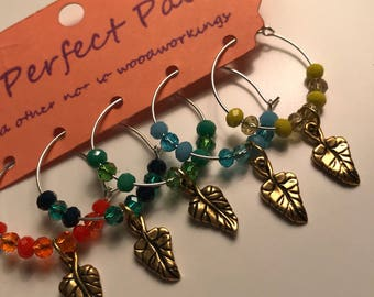 leaf wine glass charm set