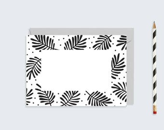 Blank Leaf Print Card  |  Monochrome Leaf and Spot Customisable Card |  A6 Printable Card