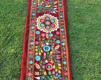 Floral embroidery suzani. Red uzbek suzani