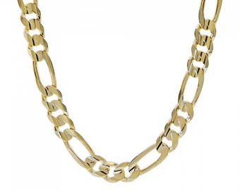 """Mens 14K Yellow Gold Figaro Link Chain 22"""" Inches 77.4 Grams"""